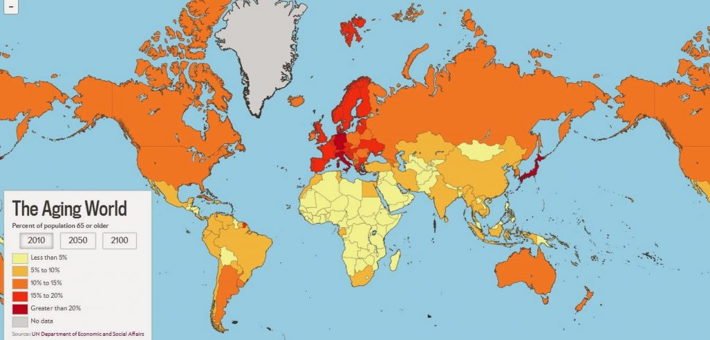 World amp showing most aging nations